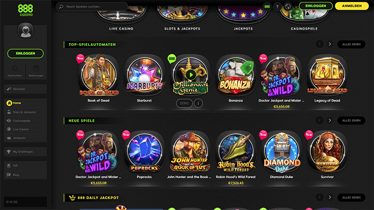 Plattform Screenshot des 888Casinos