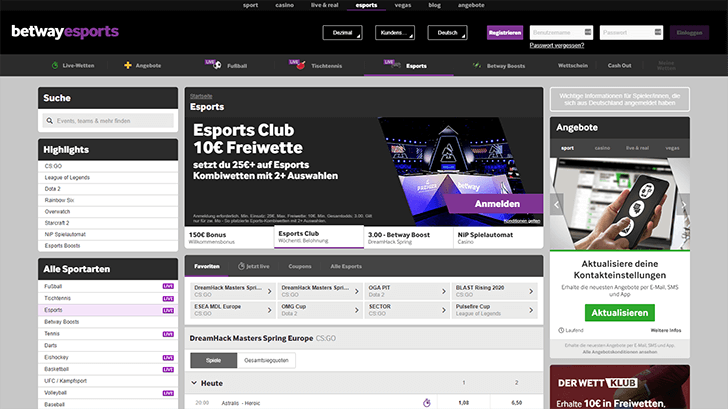 Betway eSports Bereich Screenshot