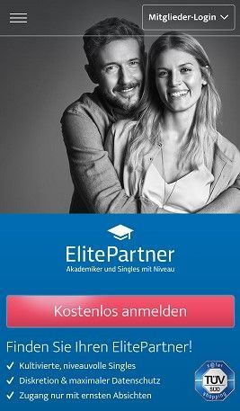 Mobile Webseite von ElitePartner