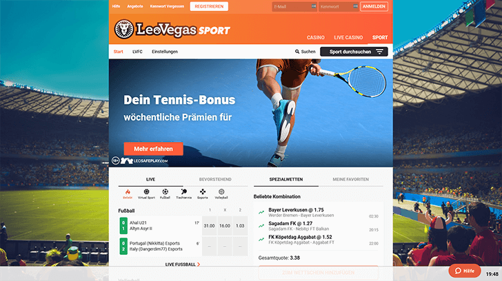 Leo Vegas Sport Plattform Screenshot