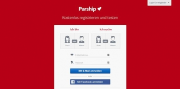 Registrierungsformular von Parship Screenshot