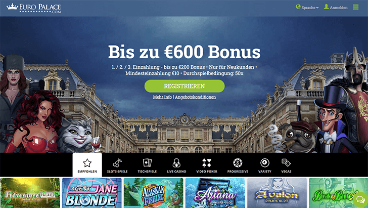 Europalace Homepage Screenshot