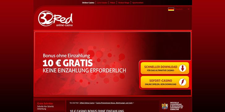 32Red Casino Bonusangebot Screenshot