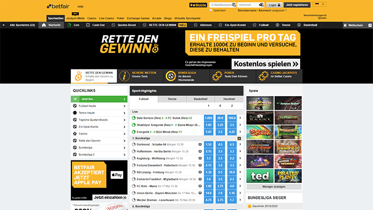 Betfair Webseite Screenshot