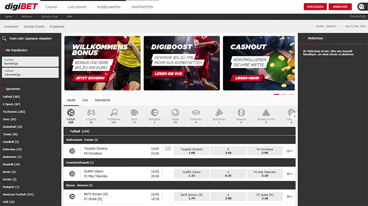 Digibet Webseite Screenshot