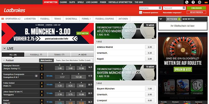 Ladbrokes Internetseite Screenshot
