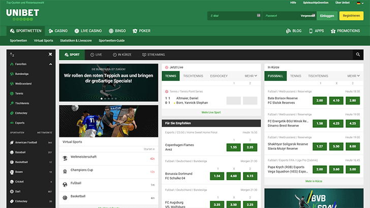 Unibet Webseite Screenshot