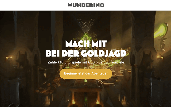 Wunderino Bonusangebot Screenshot