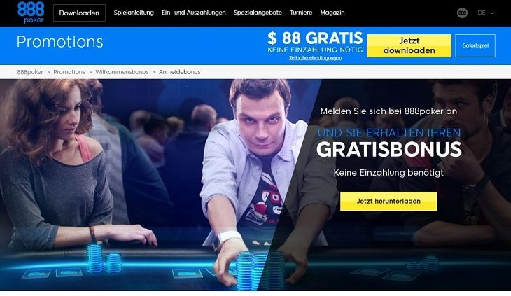 Ein Screenshot des 888Poker Bonusangebotes