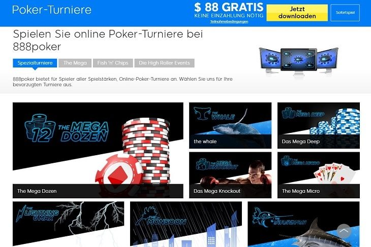 Ein Screenshot der angebotenen 888Poker Turniere