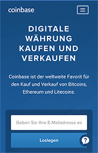 Die mobile Coinbase Webseite