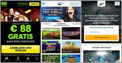 Die mobilen Webseiten des 888Casinos, Mr Play, Mr Green