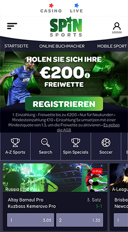 Mobile Spin Sports Webseite