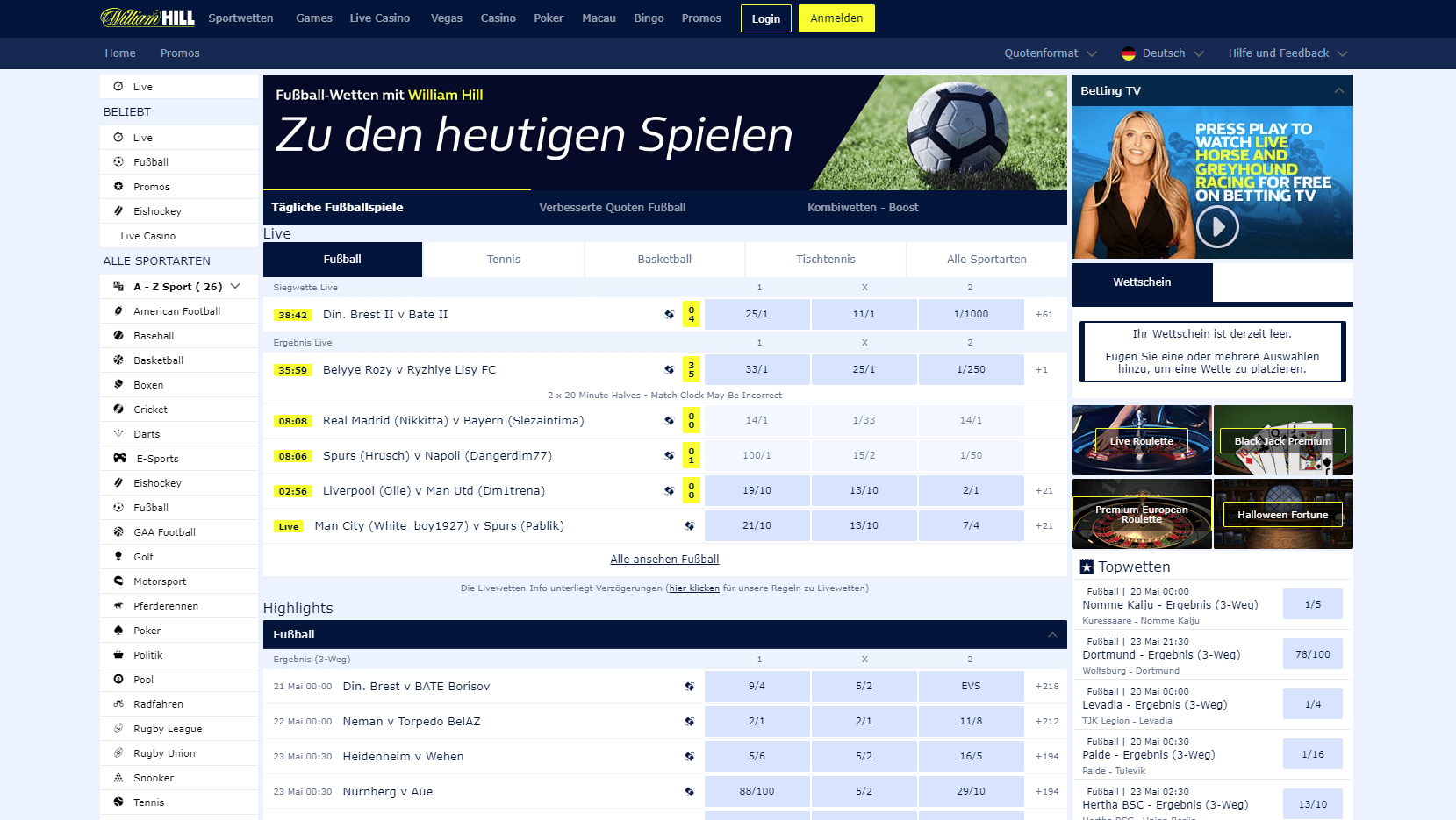 William Hill Sport Plattform Screenshot