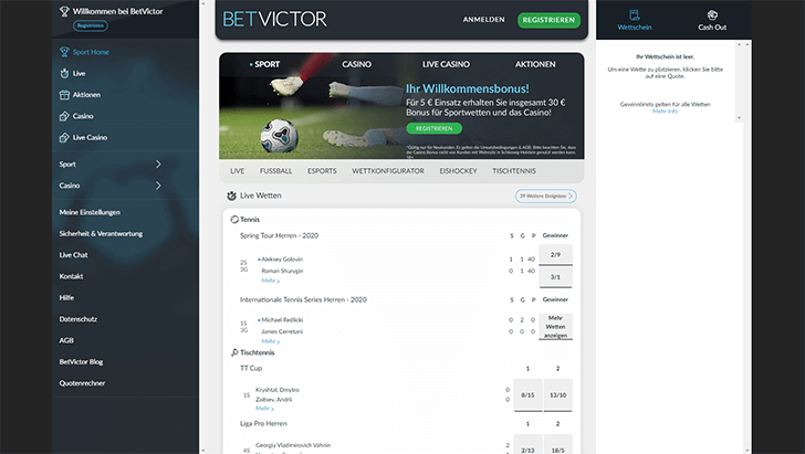 BetVictor Webseite Screenshot