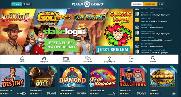 Platin Casino Webseite Screenshot