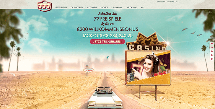 777Casino Internetseite Screenshot