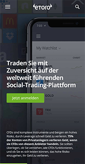 Screenshot der eToro App