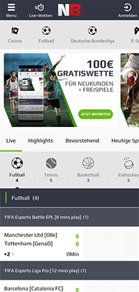 Mobile Netbet Webseite