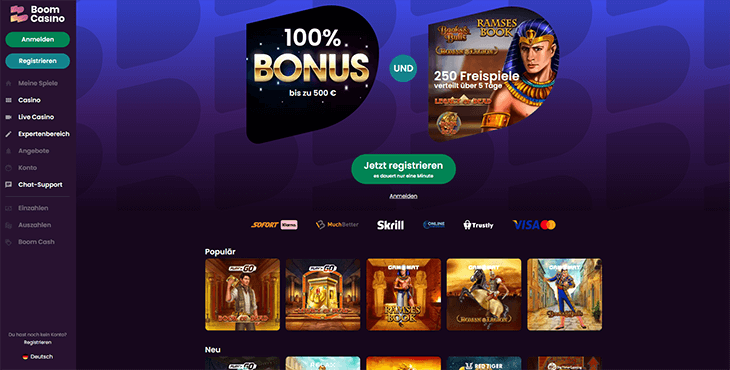 Homepage Screenshot Boom Casino